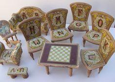 Antique Bliss Dollhouse Furniture Paper Lithograph Alphabet Parlor 10 pieces | eBay
