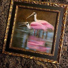 "Roseate spoonbills just placed in their new frame.. 6"" x 6"", watercolor on board with sterling silver, ©Rebecca Latham #roseatespoonbill #roseate #spoonbill #birds #wildlife #watercolor #art #animals #painting #miniature #nofilter #artist #miniatureart #realism #artforsale #animallovers"