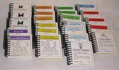 Monopoly card notebooks