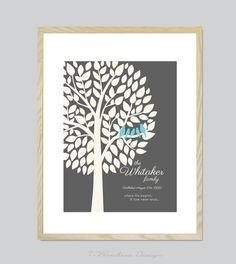 Family Tree Prints Personalized Modern Home by 7WondersDesign