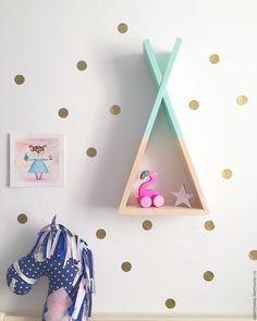 Купить Полка -вигвам - мятный, вигвам, вигвам для детей, из дерева, полки, мебель для детской