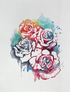 Abstract Floral Original Watercolor Painting - Contemporary  Home Decor - Abstract Roses Watercolors