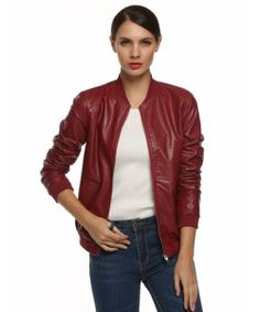 Red Zipper Leather Jacket