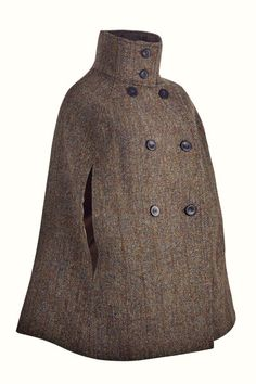 Hepburn Earth | Cocoon Luxury Wear  -Luxuriously crafted in a classic brown & green Harris Tweed, this timeless cape embodies the country chic lifestyle and offers an elegant replacement to your classic cool weather jacket. Capes & Ponchos, Capes For Women, Harris Tweed, Fashion Line, Country Chic, Stylish Outfits, Vintage Inspired, High Neck Dress, Boutique