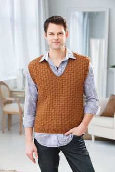 Men's Basketweave #Vest #knitting #MichaelsStores