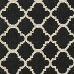 @Overstock - This outdoor rug has a brown background and displays stunning panel color of natural. This power-loomed rug is resistant to mold, mildew, sun, water and other elements.http://www.overstock.com/Home-Garden/Poolside-Black-Beige-Indoor-Outdoor-Rug-24-x-67/6599840/product.html?CID=214117 $38.99
