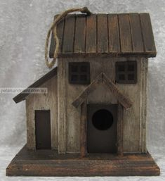 Rustic Birdhouse Designs   Details about Hanging Timber Bird House Cottage Design Rustic Aged ...