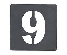 Chiffre décoratif pochoir n° 9, fer galvanisé - H10