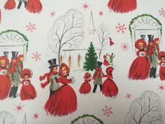 Vintage Christmas Wrapping Paper  A Snowy by TheGOOSEandTheHOUND