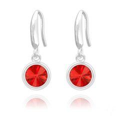Rivoli 6mm Silver Earrings with Swarovski Crystal (Light Siam)  #sterling #silver #rings #925 #free #boxed #new #gift #stud #earrings