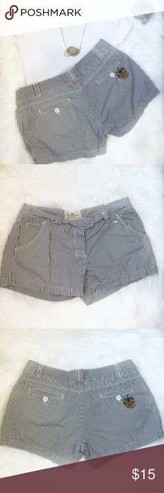 Canterbury of New Zeland Striped Shorts Size Large PreownedCanterbury of New Zeland Stripe Shorts Color: blue and white Belt loops 5 pockets Iconic logo on the front and back pockets 2 button / zipper closure Gently used condition. 2 green marks on the back bottom left side of the shorts. Otherwise no tears or holes. Still has a lot of left life Size: Large  Please see pictures for fabric content and approximately measurements while flat, unstretched.  Feel free to make an offer or bundle…