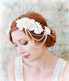 White flower headpiece bridal hair crown by gardensofwhimsy
