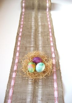 pictures of easter table runners | Easter burlap table runner