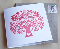Mothers Day Spring, Letterpress Card Scandinavian Folk Style rose pink blush Tree of Life. Made in Australia via Etsy