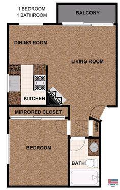 Open floor plan one bedroom apartment   Bedroom Apartments in Valley  Village  CA   FloorAlexander Gardens   Bedroom floor plans  Washington dc and Highlands. One Bedroom Apartment Open Floor Plans. Home Design Ideas