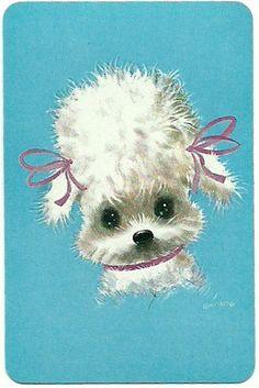 vintage playing card poodle by Millie Motts, via Flickr