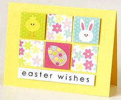 Six even squares and a rectangular title make up the simple grid design of this Easter card. Melissa adhered three Easter-theme square stickers on paper, trimmed around the edges, and propped them up on the card with adhesive foam. She punched three squares from floral patterned paper and alternated the shapes to liven up the patterns.