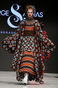 Jorge Luis Salinas elaboró kimonos andinos con la ayuda de mujeres tejedoras de Huancayo, Moquegua, Huancavelica y Lima. (Foto: Fidel Huapaya/Perú.com)