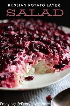 This recipe is the best Russian Potato Layer Salad, it is a vegetarian recipe, easy to make, and keeps in the fridge very well for even a couple of days. So you can make it ahead and serve it the next day. This recipe is authentic Russian with a pomegranate layer at the top. But it tastes delicious if you would like to use cranberries instead. #sidedish #layersalad #potatosalad #salad Brunch Ideas, Brunch Recipes, Gourmet Recipes, Delicious Recipes, Easy Recipes, Easy Meals, Veggie Recipes Healthy, Salad Recipes, Vegetarian Recipes