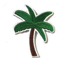 2016 New arrival 2 pcs coconut green tree Embroidered patches iron on cartoon Motif Applique embroidery accessory(China (Mainland))