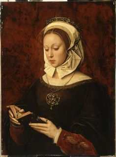 A portrait of a young woman reading a Book of Hours by Ambrosius Benson,
