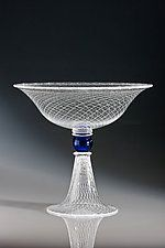 """Footed Reticello Bowl by Robert Dane (Glass Bowl) (12"""" x 14"""")"""