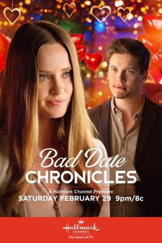 """An anonymous bad date horror story brings Leigh (Merritt Patteron) and Conner (Justin Kelly) together, but will true love triumph? Find out in """"Bad Date Chronicles,"""" premiering February on Hallmark Channel Hallmark Movie Channel, Hallmark Movies, Family Christmas Movies, Family Movies, Justin Kelly, Merritt Patterson, Movie Night Party, Movie Nights, Female Friendship"""
