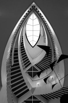 Staircase, skylight, Calder © 2014 by Kevin Nance (Museum of Contemporary Art, Chicago, designed by Josef Paul Kleihues) Amazing Architecture, Modern Architecture, Museum Of Contemporary Art, Skylight, Art Deco, Black And White, Chicago, Image, Perspective