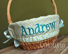 Personalized Easter Basket Liner  Blue and Green by LeelynnCrafts