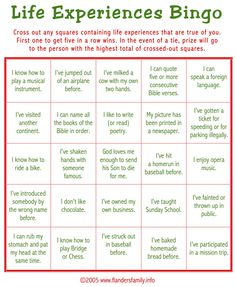 "Today's game is ""Life Experiences BINGO."" This makes a great ice breaker to play as guests are arriving. Guests are asked to check off all statements that apply to them. Whoever calls gets a BINGO ..."