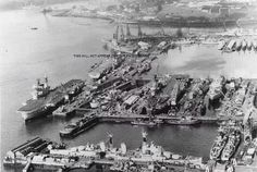 When we had a large fleet! Devonport with aircraft carriers alongside. Uk Navy, Navy Day, Royal Navy, British Aircraft Carrier, Hms Ark Royal, Capital Ship, Naval History, Royal Marines, Flight Deck
