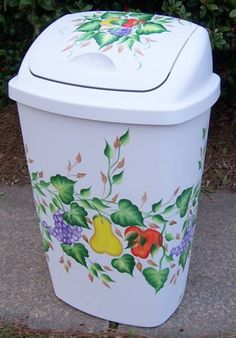 Hand Painted Fruit Trash Can
