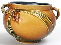 """Roseville art pottery planter bowl in """"Pine Cone"""" pattern"""