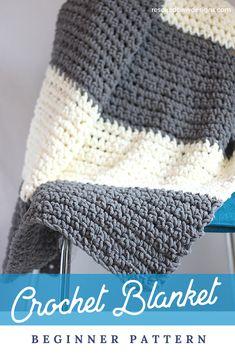 Make this simple beginner friendly crochet throw blanket today! blanket patterns for beginners Granite Crochet Throw Blanket Pattern - Easy Crocheted Throw Crochet Afghans, Crochet Throw Pattern, Afghan Crochet Patterns, Baby Blanket Crochet, Crochet Stitches, Knit Crochet, Crochet Throws, Chunky Crochet Blankets, Beginner Crochet Patterns