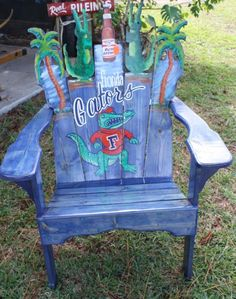 Image Detail for - Saltwater Trading Company: Florida Gator Adirondack Chair Hand Painted Uf Gator, Florida Gators Football, Florida Gators College, Cool Chairs, Art Projects, Hand Painted, Crafty, Fun, Painting