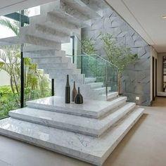 Construindo Minha Casa Clean: Escadas de Mármore com Guarda-Corpo de Vidro Embutido!