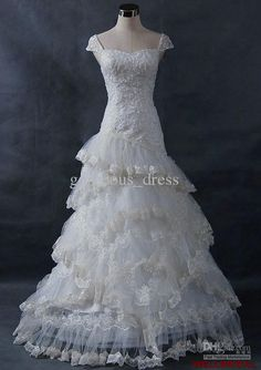Wholesale 2013 Popular off-shoulder laciness tiered cap sleeves white handmade bridal dresses wedding dresses, Free shipping, $147.84-170.24/Piece | DHgate