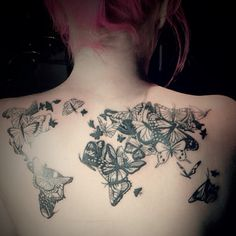 Henna inspired world map tattoo by the handsome and talented quiero este pero a colores d its the continents made out of butterflies gumiabroncs Image collections