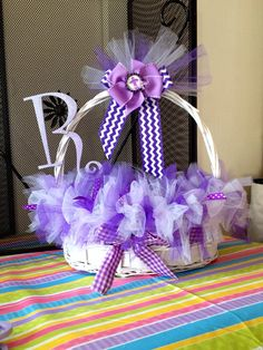 Tulle or feather Easter baskets  on Etsy, $28.00