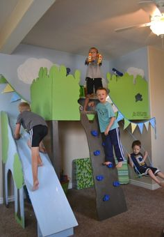 indoor tree house loft for kids with slide and swing, I Am Hardware featured on Remodelaholic