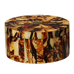 Large Faux Tortoiseshell Round Resin Box - OKA
