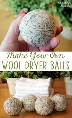 Save energy with wool dryer balls. They reduce the amount of time you need to run your dryer. They also soften your clothes without fabric softener. Jilee of One Good Thing show you how to make your own. || @Jill Nystul  |  One Good Thing by Jillee