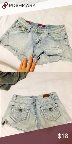 Short jean shorts - distressed denim Distressed denim, fringy denim on bottom Vigoss Shorts Jean Shorts