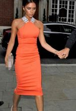 Free Shipping Sexy Party Queen Victoria Beckhams Cross Back Slim Ladies Halter Dress Orange/White S-XL(China (Mainland))