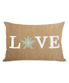 Take a look at the Brown 'Love' Snowflake Pillow on #zulily today!