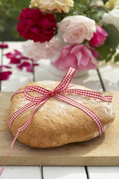 Gingham ribbon wrapped around fresh baked bread....who wouldn't love that?
