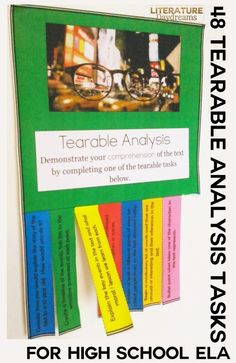 48 different literary analysis tasks suitable for analysing any literary text. This task set is based on Bloom's Taxonomy and has 8 tasks for each level of the Taxonomy. This interesting and engaging activity is perfect for study any literary text and will help foster independence and close reading skills!