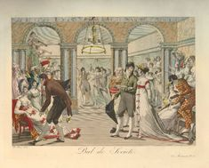 Satirical view of a ball-room full of dancers in fashionable clothes; at the back left musicians, on the right a man in harlequin costume.  1804? Hand-coloured engraving