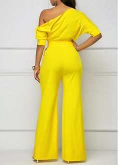 8e01d714b189 Skew Neck Half Sleeve Belted Yellow Jumpsuit