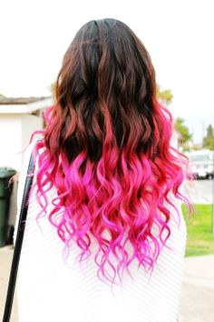 Temporary Hot Pink Ombre Dip Dye Hair Chalk
